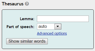 Automatic thesaurus - basic settings