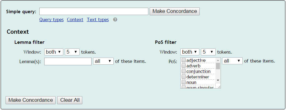 setting context for concordance search