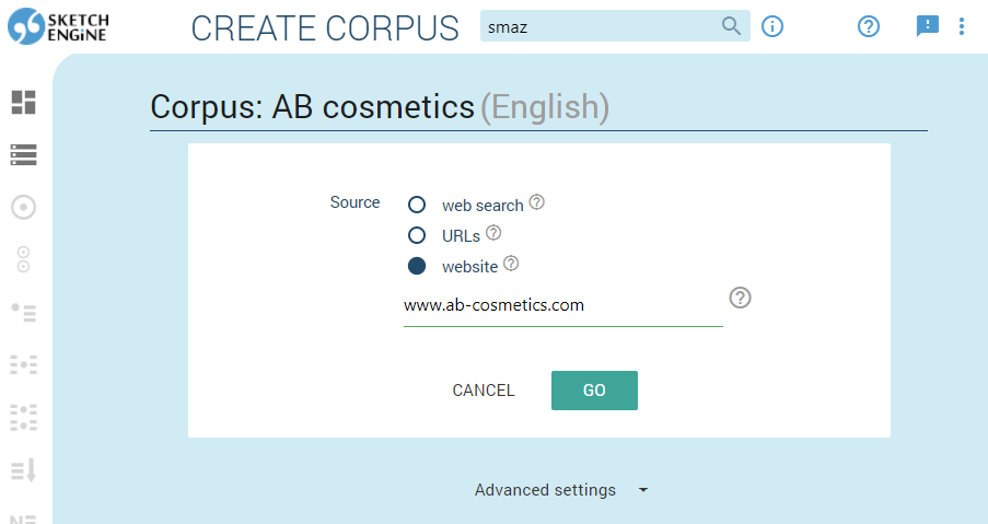 Screenshot of creating corpora in Sketch Engine