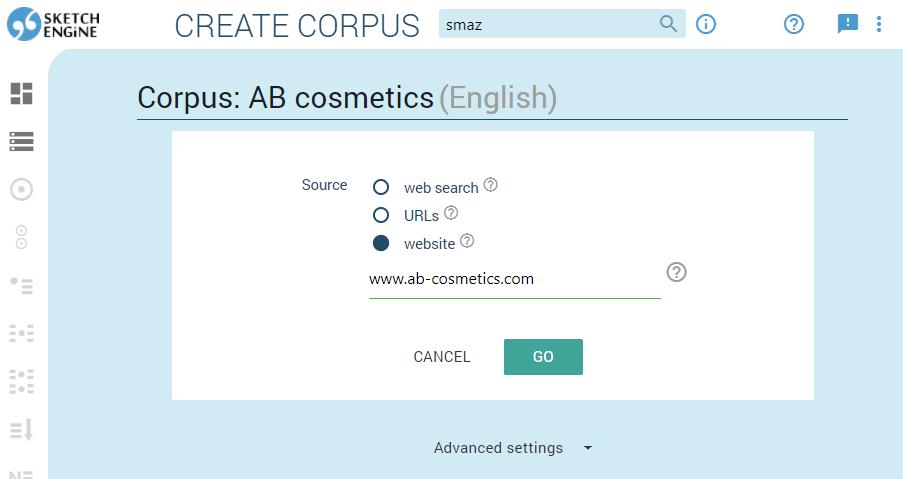 Screenshot of creating corpora in Sketch Engine