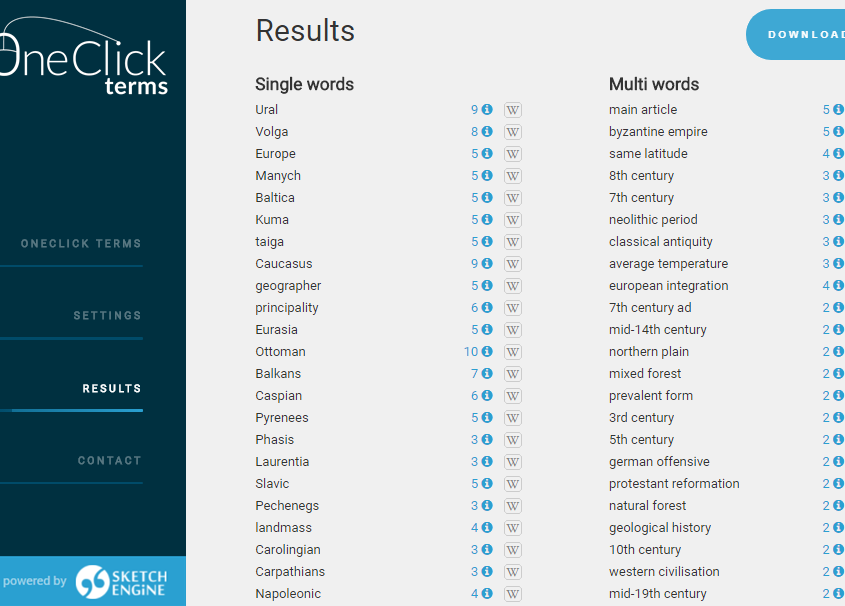 Screenshot from OneClick Terms – term extraction tool