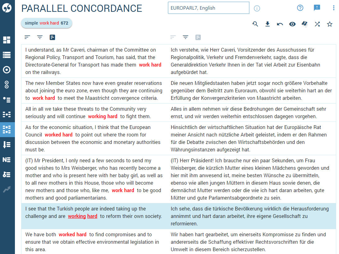 Parallel concordance English - German