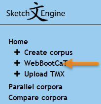 WebBootCaT - create your own corpus from the web
