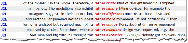 A concordance of 'rather' followed by adjectives.