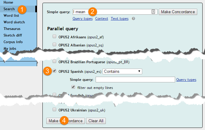 Setting criteria for a search a parallel corpus