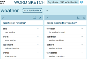 Screenshot of word sketch from enTenTen English corpus