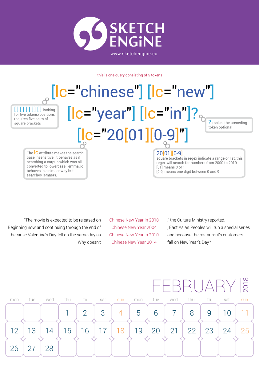 Sketch Engine calendar 2018 – February