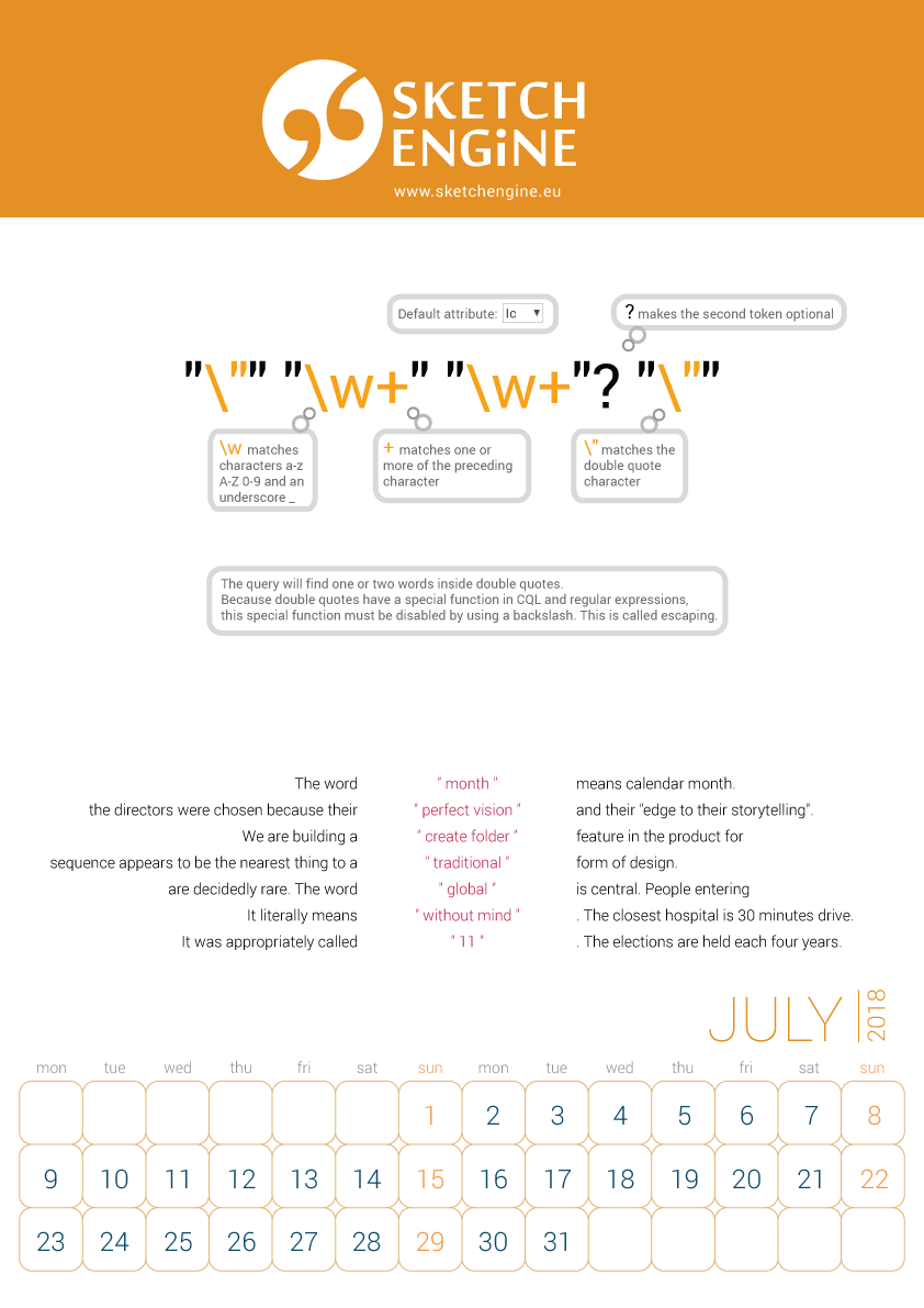 Sketch Engine calendar 2018 – July
