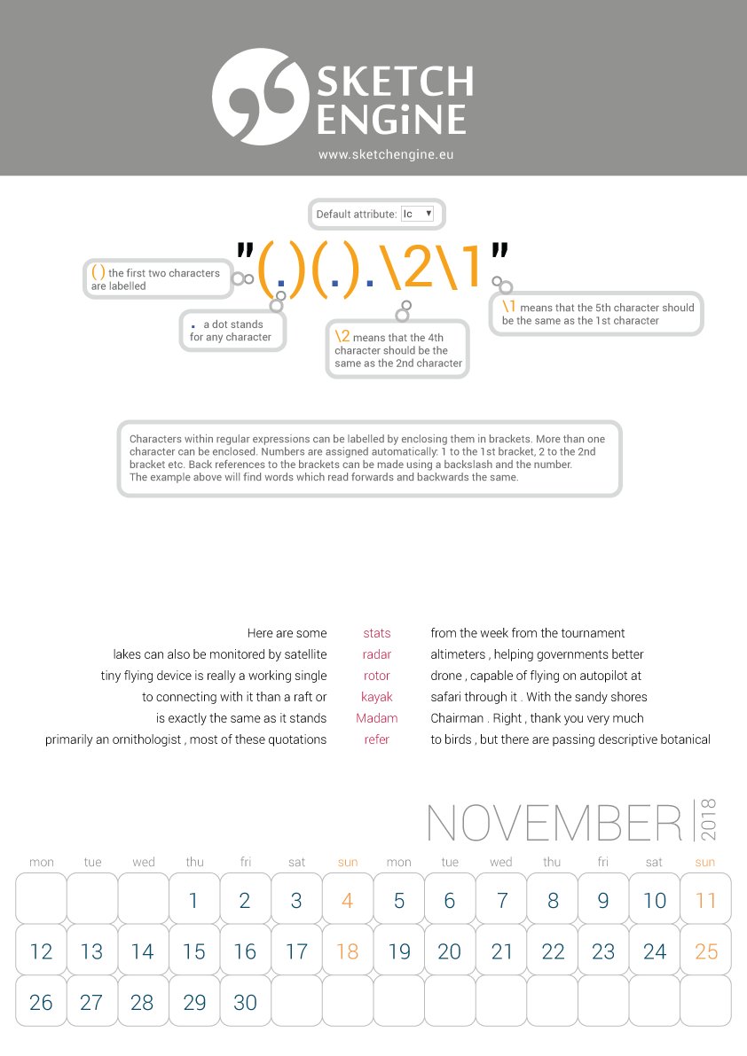 Sketch Engine calendar 2018 – November