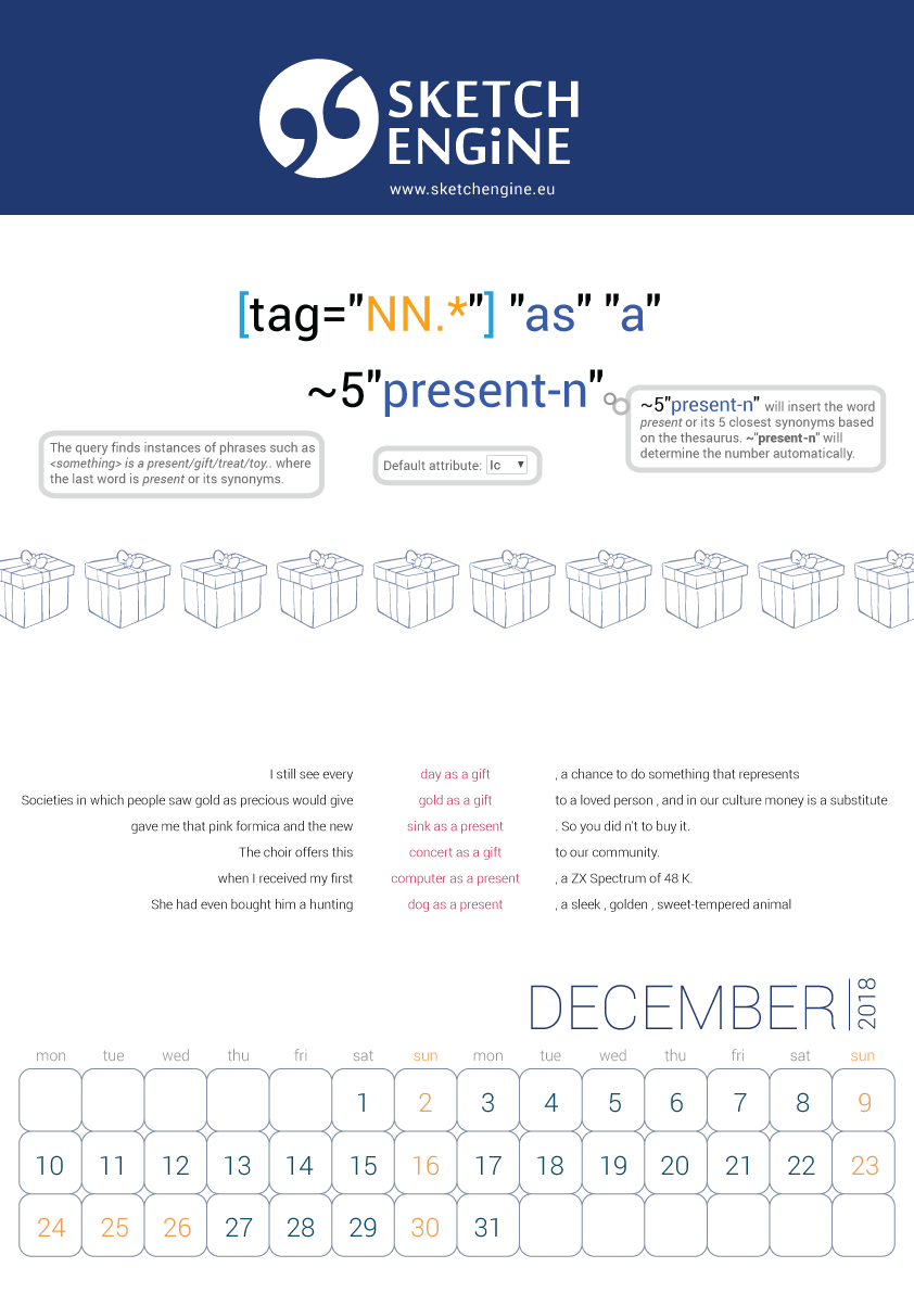 Sketch Engine calendar 2018 – December