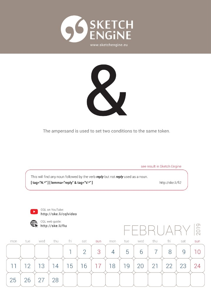 Sketch Engine calendar 2019 – February