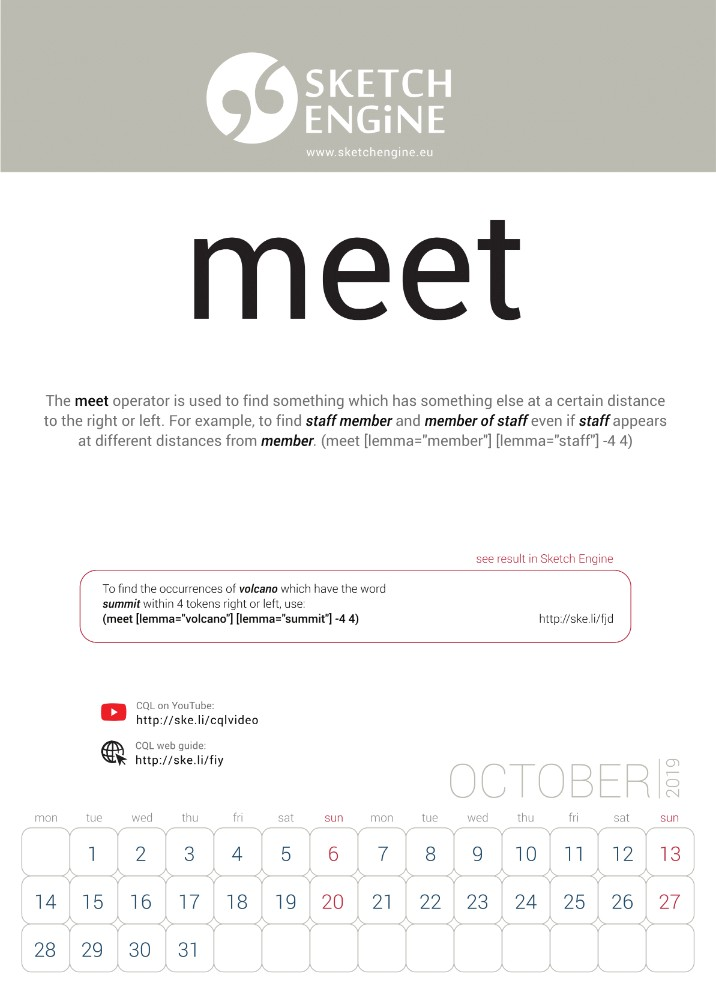 Sketch Engine calendar 2019 – October