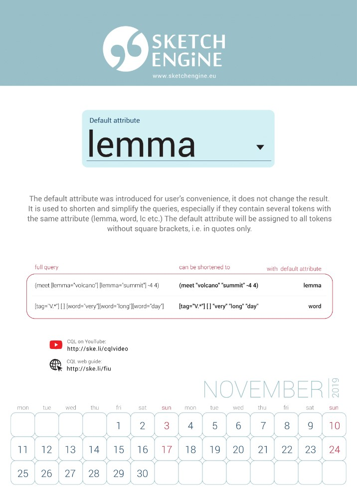 Sketch Engine calendar 2019 – November