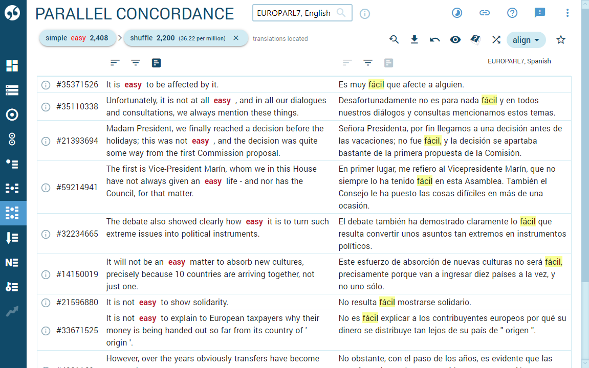 Parallel concordance with highlighted translations