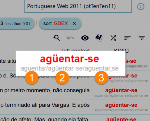 Positional attributes in ptTenTen Portuguese corpus in Sketch Engine