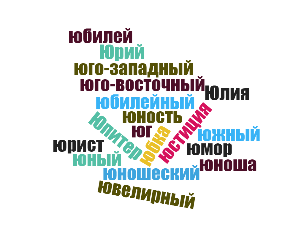 Russian word list of words starting with ю