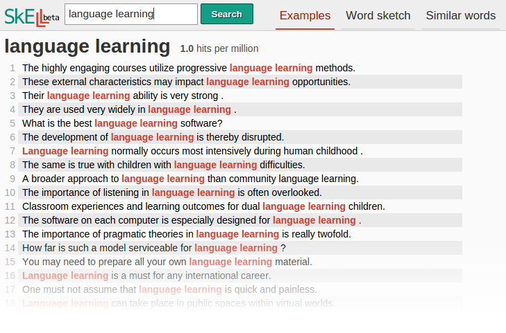 skell � corpus tool for language learners sketch engine